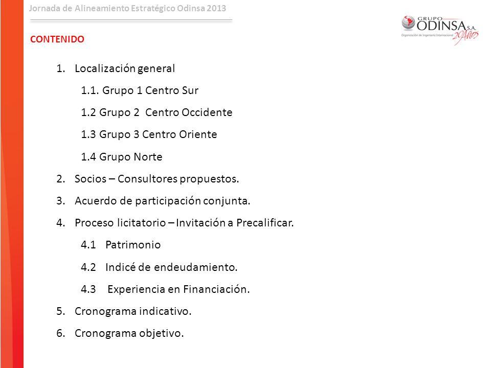 Jornada de Alineamiento Estratégico Odinsa 2013 CONTENIDO 1.Localización general 1.1. Grupo 1 Centro Sur 1.2 Grupo 2 Centro Occidente 1.3 Grupo 3 Cent