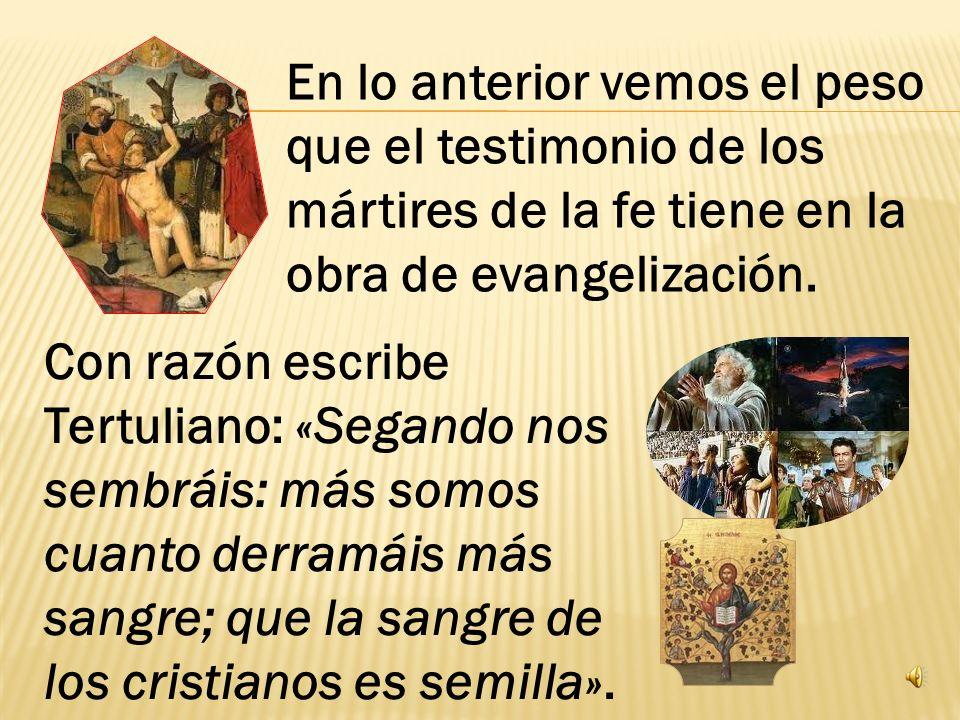 La tercera ley de la evangelización es, por último, la ley del grano de trigo que muere para dar mucho fruto (cf. Jn 12, 24). En la evangelización sie