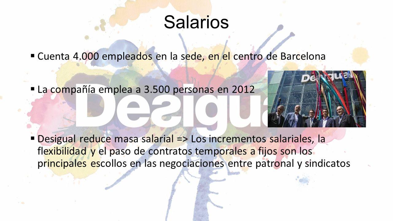Salarios Cuenta 4.000 empleados en la sede, en el centro de Barcelona La compañía emplea a 3.500 personas en 2012 Desigual reduce masa salarial => Los
