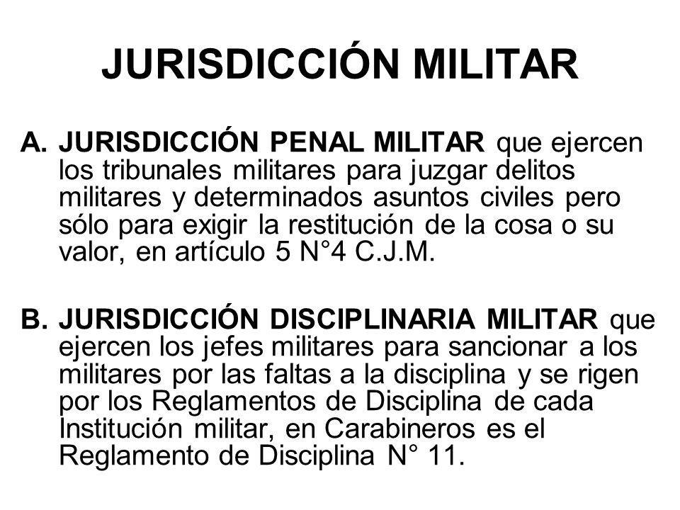 JURISDICCIÓN MILITAR A.JURISDICCIÓN PENAL MILITAR que ejercen los tribunales militares para juzgar delitos militares y determinados asuntos civiles pero sólo para exigir la restitución de la cosa o su valor, en artículo 5 N°4 C.J.M.