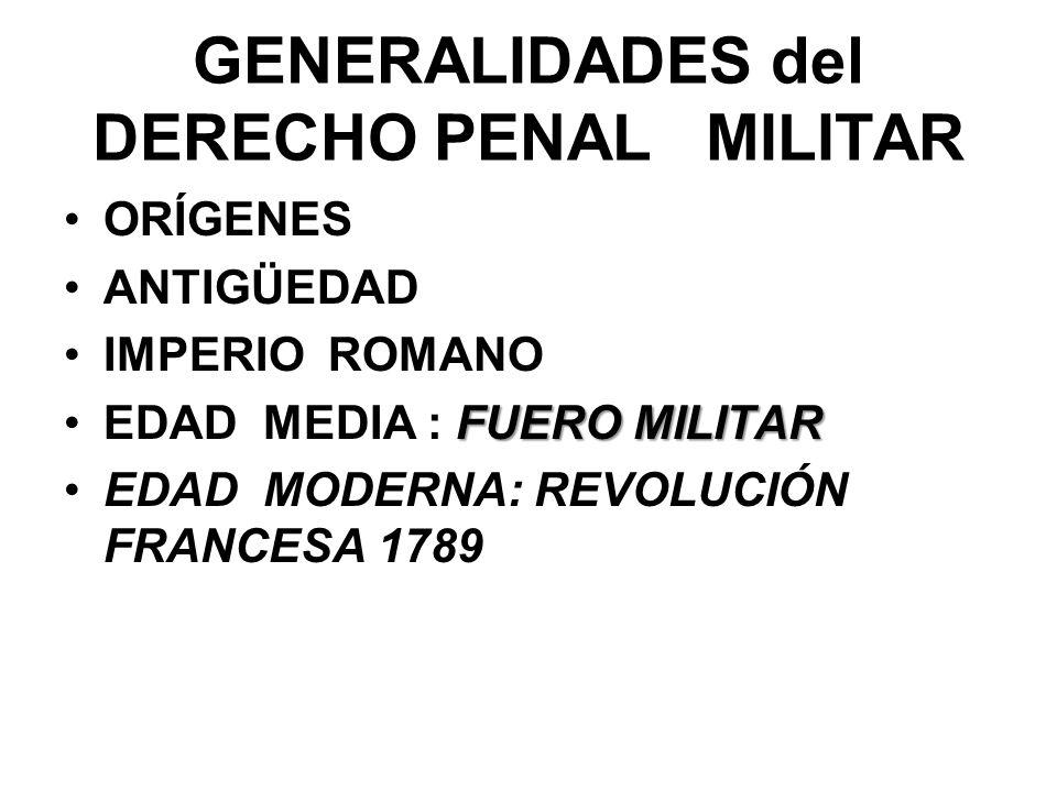 GENERALIDADES del DERECHO PENAL MILITAR ORÍGENES ANTIGÜEDAD IMPERIO ROMANO FUERO MILITAREDAD MEDIA : FUERO MILITAR EDAD MODERNA: REVOLUCIÓN FRANCESA 1789