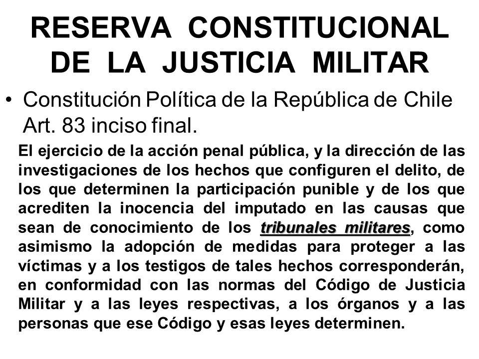 RESERVA CONSTITUCIONAL DE LA JUSTICIA MILITAR Constitución Política de la República de Chile Art.
