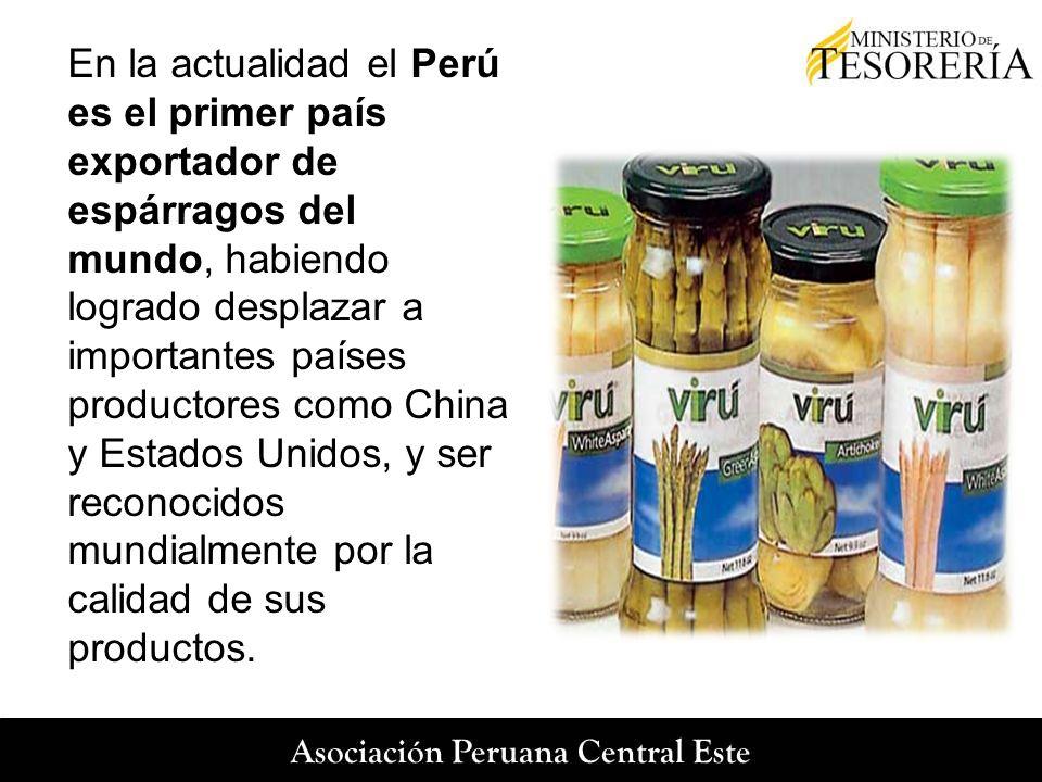En la actualidad el Perú es el primer país exportador de espárragos del mundo, habiendo logrado desplazar a importantes países productores como China