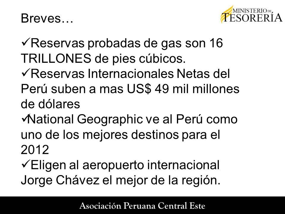 Breves… Reservas probadas de gas son 16 TRILLONES de pies cúbicos. Reservas Internacionales Netas del Perú suben a mas US$ 49 mil millones de dólares