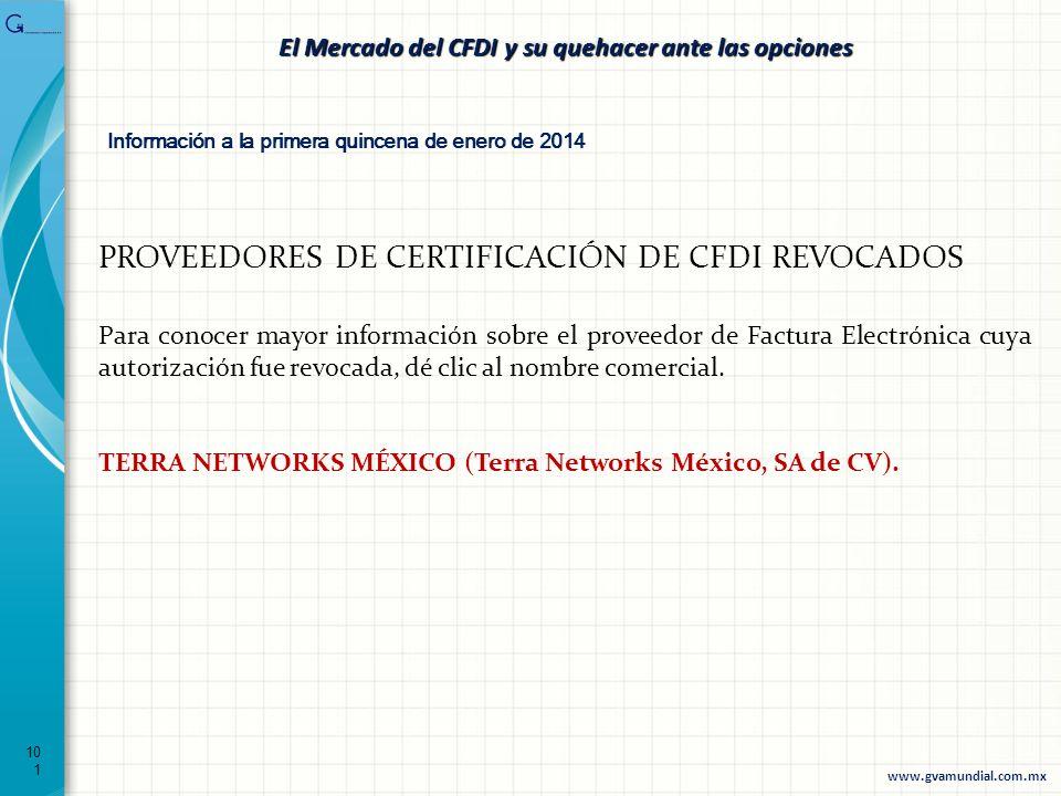 101 El Mercado del CFDI y su quehacer ante las opciones PROVEEDORES DE CERTIFICACIÓN DE CFDI REVOCADOS Para conocer mayor información sobre el proveed