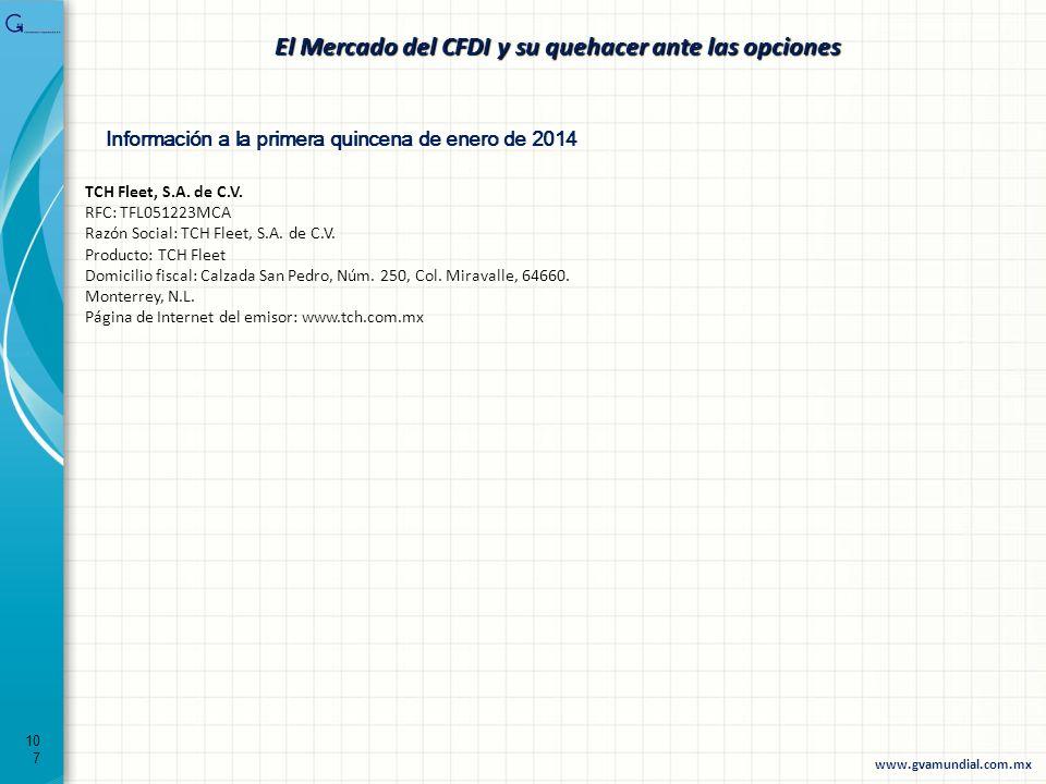 107 El Mercado del CFDI y su quehacer ante las opciones Información a la primera quincena de enero de 2014 TCH Fleet, S.A. de C.V. RFC: TFL051223MCA R