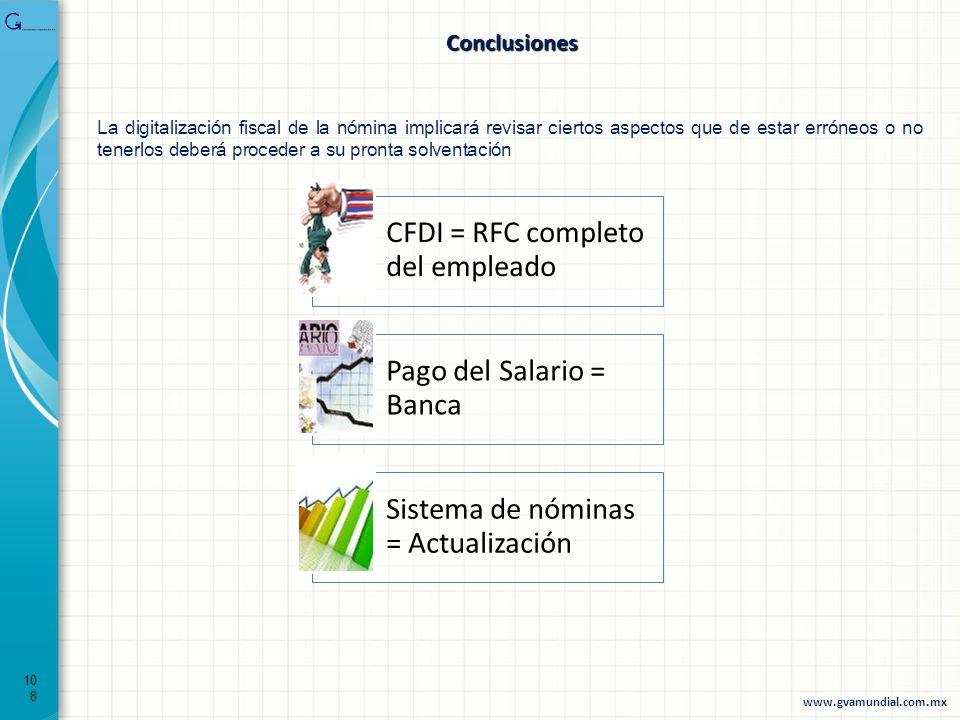 108 Conclusiones CFDI = RFC completo del empleado Pago del Salario = Banca Sistema de nóminas = Actualización La digitalización fiscal de la nómina im