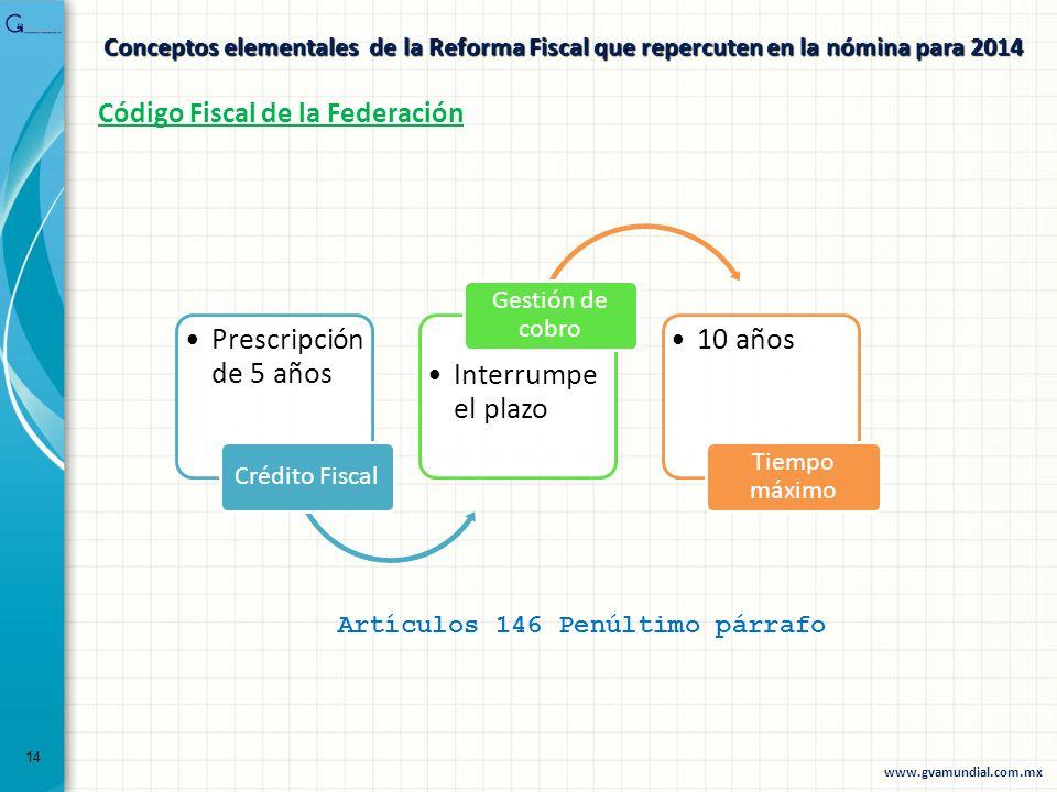 Conceptos elementales de la Reforma Fiscal que repercuten en la nómina para 2014 Artículos 146 Penúltimo párrafo Código Fiscal de la Federación Prescr