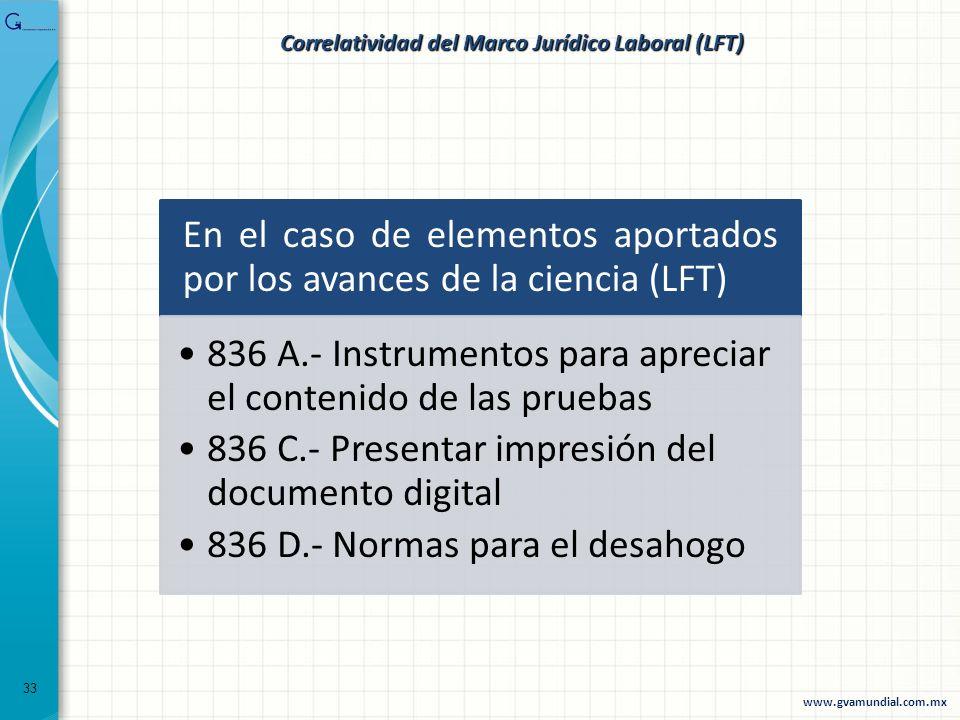 En el caso de elementos aportados por los avances de la ciencia (LFT) 836 A.- Instrumentos para apreciar el contenido de las pruebas 836 C.- Presentar