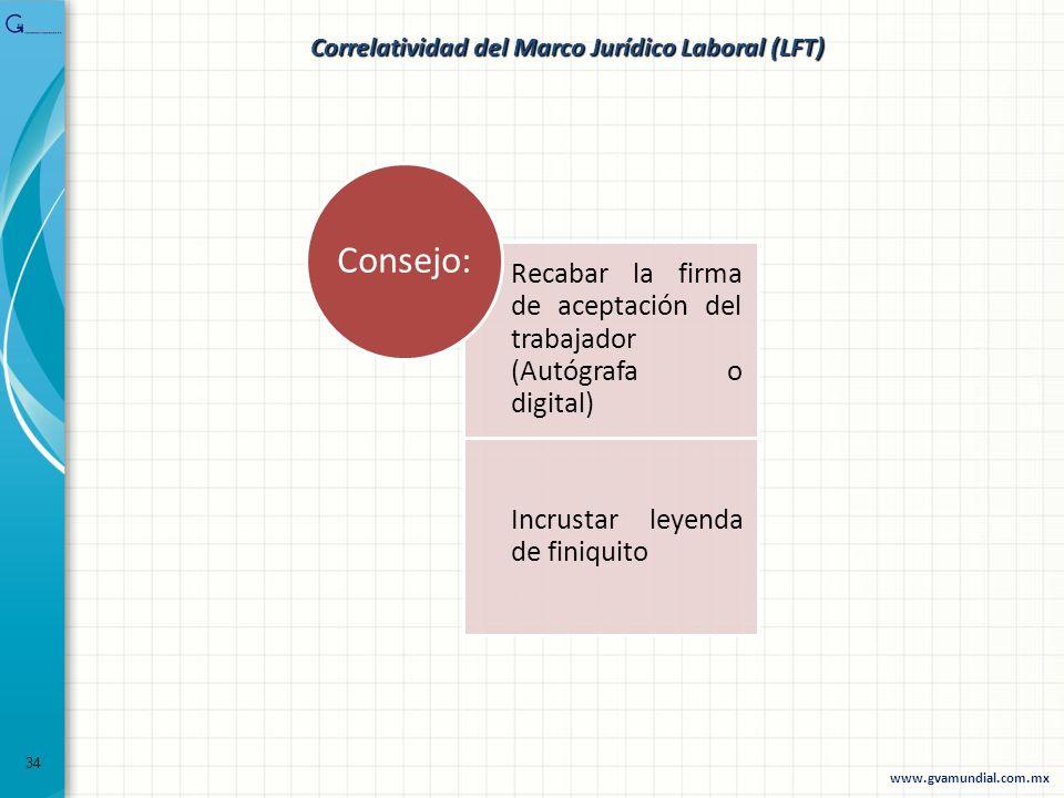 Recabar la firma de aceptación del trabajador (Autógrafa o digital) Incrustar leyenda de finiquito Consejo: 34 www.gvamundial.com.mx Correlatividad de