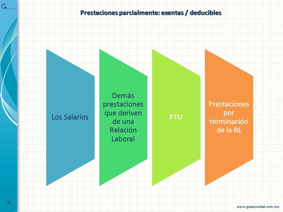 Los Salarios Demás prestaciones que deriven de una Relación Laboral PTU Prestaciones por terminación de la RL 36 www.gvamundial.com.mx Prestaciones pa