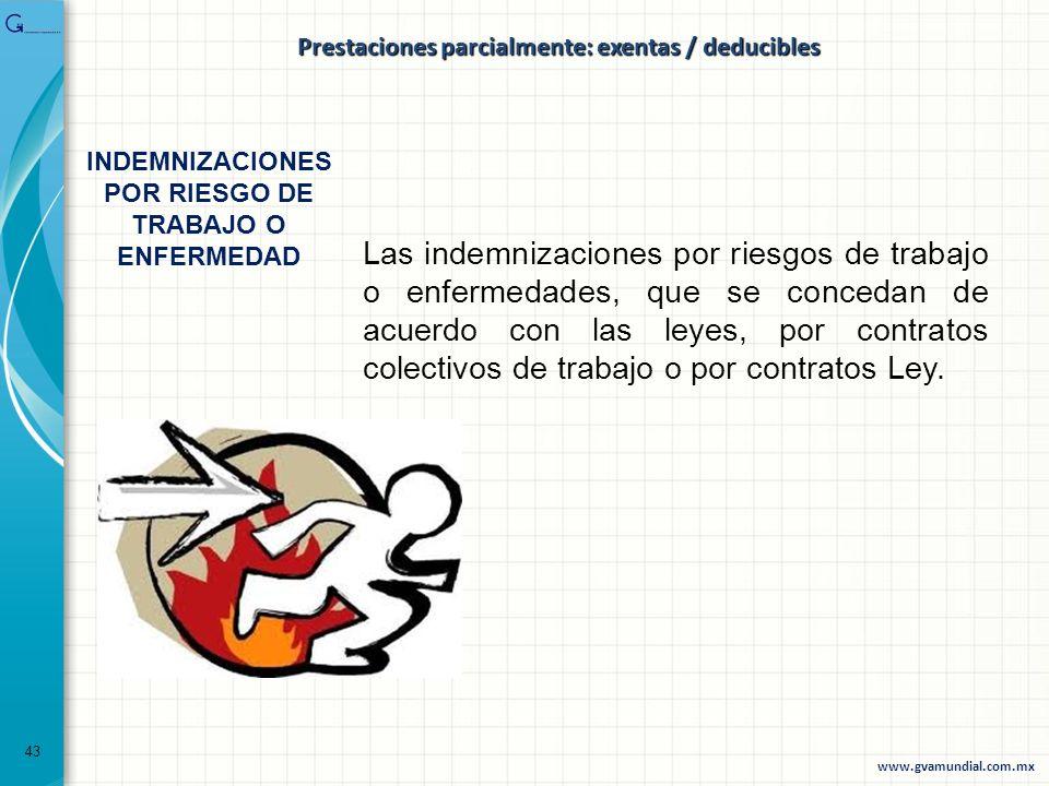 Las indemnizaciones por riesgos de trabajo o enfermedades, que se concedan de acuerdo con las leyes, por contratos colectivos de trabajo o por contrat