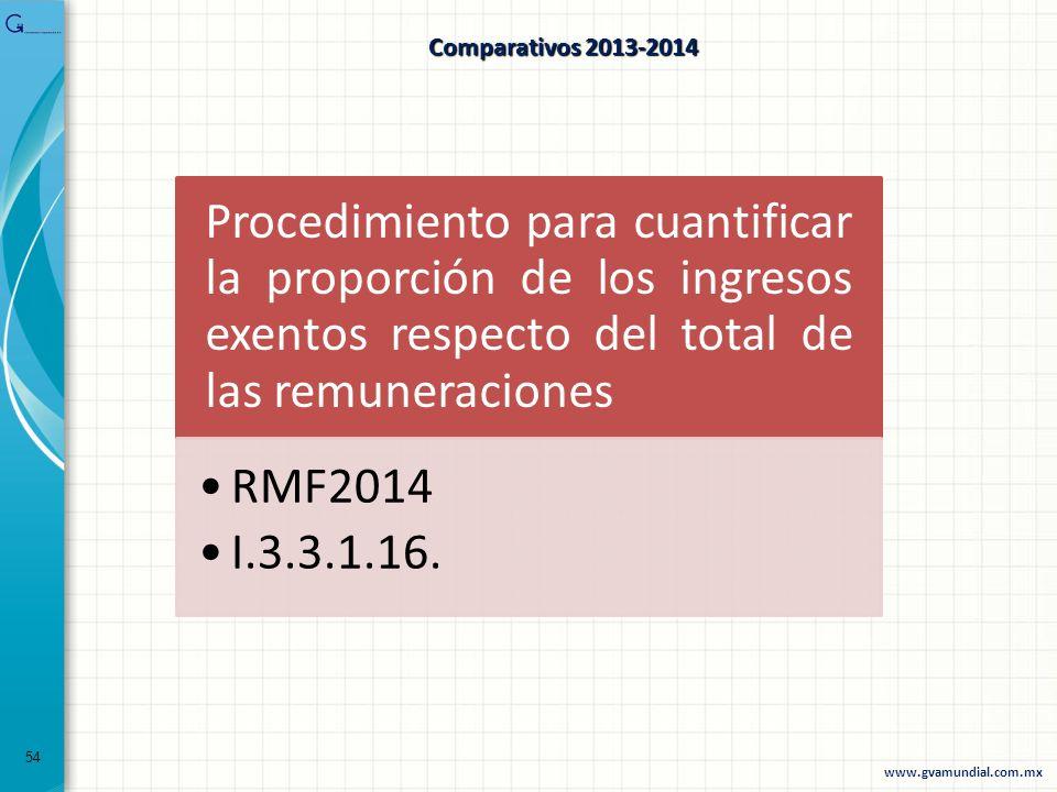54 Comparativos 2013-2014 Procedimiento para cuantificar la proporción de los ingresos exentos respecto del total de las remuneraciones RMF2014 I.3.3.