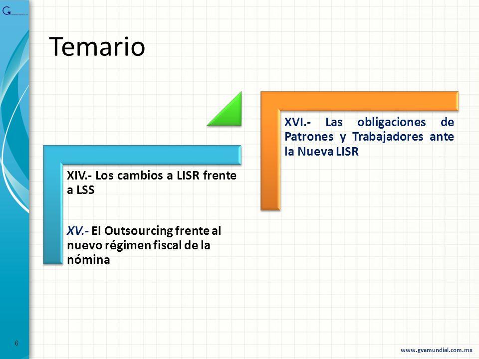 XIV.- Los cambios a LISR frente a LSS XV.- El Outsourcing frente al nuevo régimen fiscal de la nómina XVI.- Las obligaciones de Patrones y Trabajadore