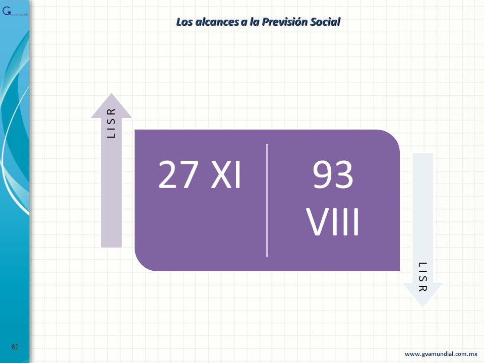 62 27 XI93 VIII L I S R www.gvamundial.com.mx Los alcances a la Previsión Social