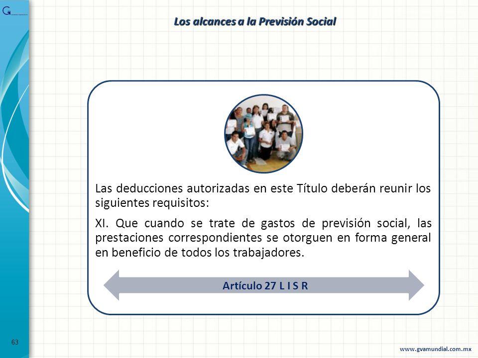 63 Las deducciones autorizadas en este Título deberán reunir los siguientes requisitos: XI. Que cuando se trate de gastos de previsión social, las pre