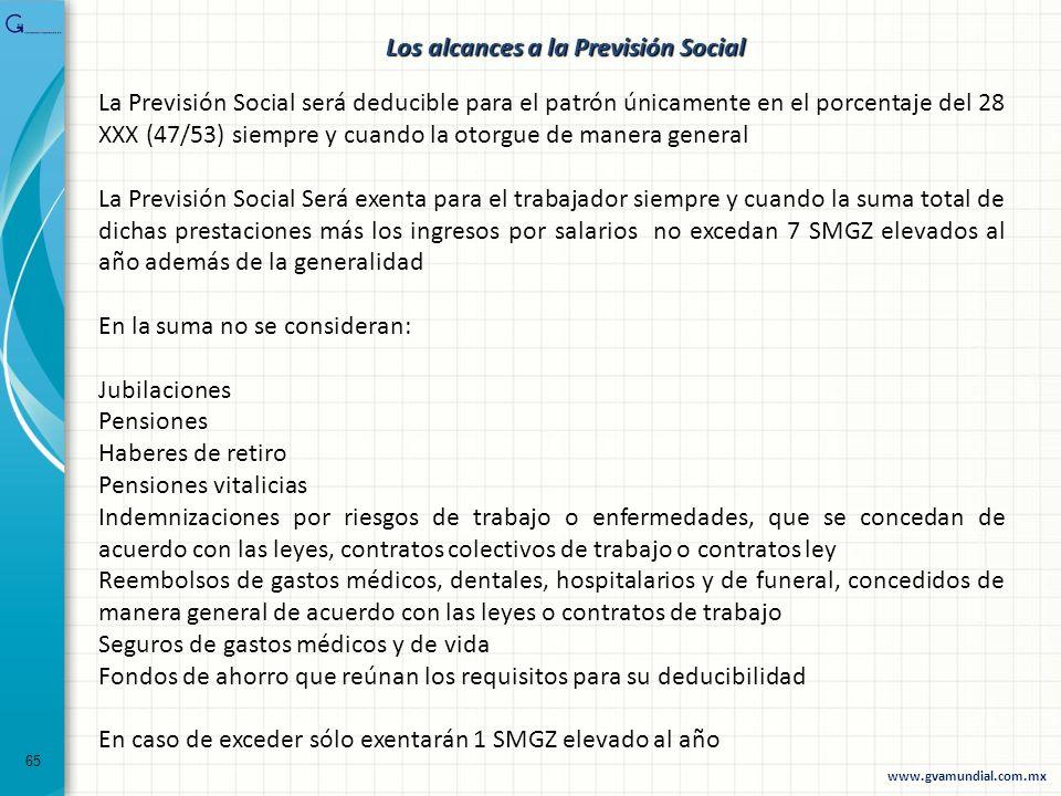 65 La Previsión Social será deducible para el patrón únicamente en el porcentaje del 28 XXX (47/53) siempre y cuando la otorgue de manera general La P