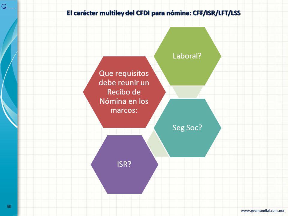 68 El carácter multiley del CFDI para nómina: CFF/ISR/LFT/LSS Que requisitos debe reunir un Recibo de Nómina en los marcos: Laboral?Seg Soc?ISR? www.g