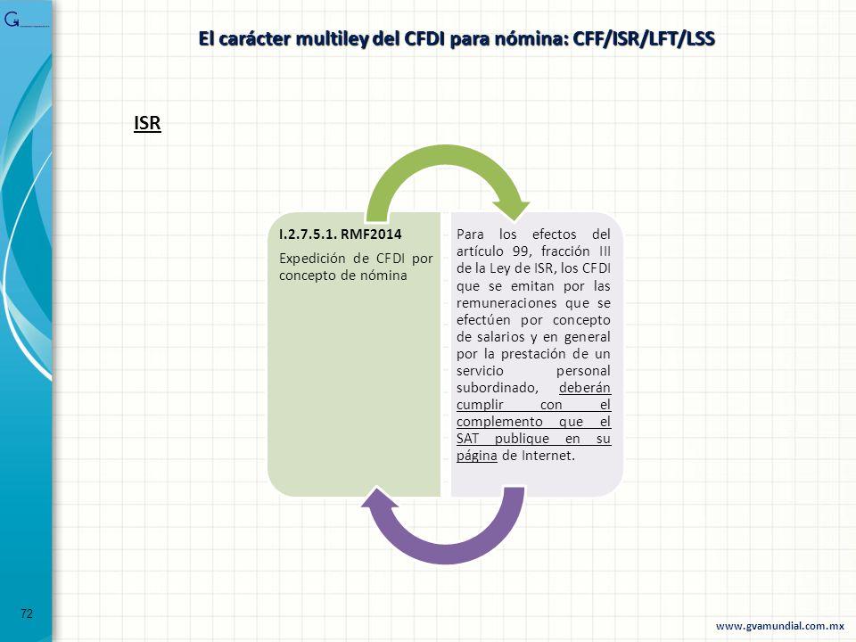 72 ISR I.2.7.5.1. RMF2014 Expedición de CFDI por concepto de nómina Para los efectos del artículo 99, fracción III de la Ley de ISR, los CFDI que se e