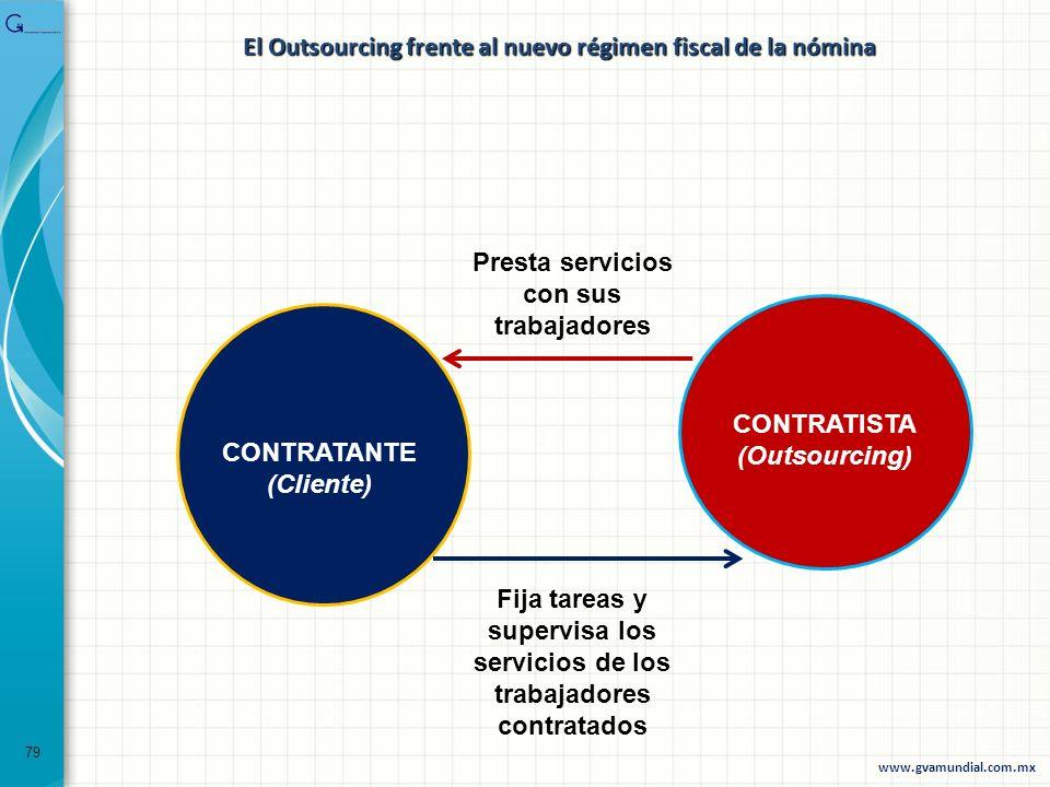 79 El Outsourcing frente al nuevo régimen fiscal de la nómina Presta servicios con sus trabajadores Fija tareas y supervisa los servicios de los traba