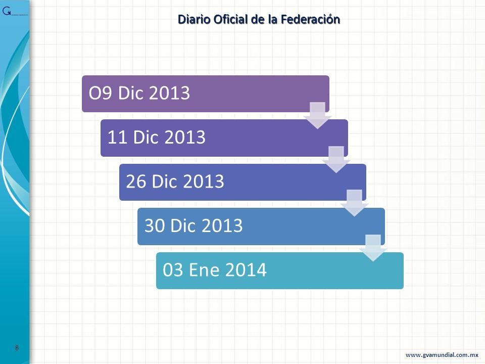 O9 Dic 201311 Dic 201326 Dic 201330 Dic 201303 Ene 2014 Diario Oficial de la Federación 8 www.gvamundial.com.mx