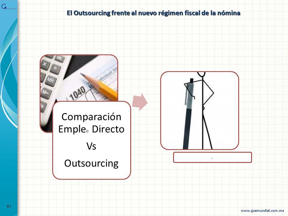 81 Comparación Emple o Directo Vs Outsourcing. www.gvamundial.com.mx El Outsourcing frente al nuevo régimen fiscal de la nómina