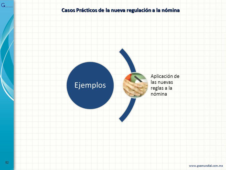 82 Casos Prácticos de la nueva regulación a la nómina Ejemplos Aplicación de las nuevas reglas a la nómina www.gvamundial.com.mx