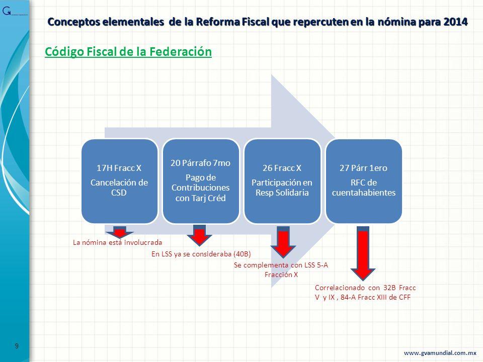 Conceptos elementales de la Reforma Fiscal que repercuten en la nómina para 2014 17H Fracc X Cancelación de CSD 20 Párrafo 7mo Pago de Contribuciones