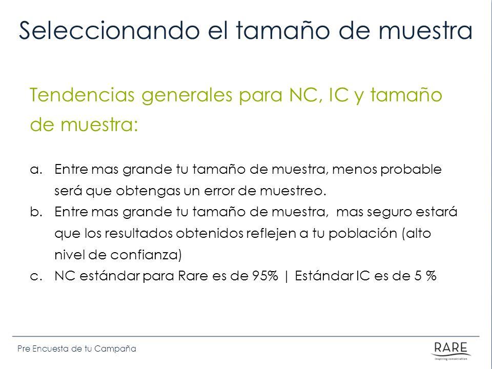 Pre Encuesta de tu Campaña Seleccionando el tamaño de muestra Tendencias generales para NC, IC y tamaño de muestra: a.Entre mas grande tu tamaño de muestra, menos probable será que obtengas un error de muestreo.
