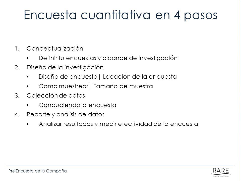 Pre Encuesta de tu Campaña Encuesta cuantitativa en 4 pasos 1.Conceptualización Definir tu encuestas y alcance de investigación 2.Diseño de la investi