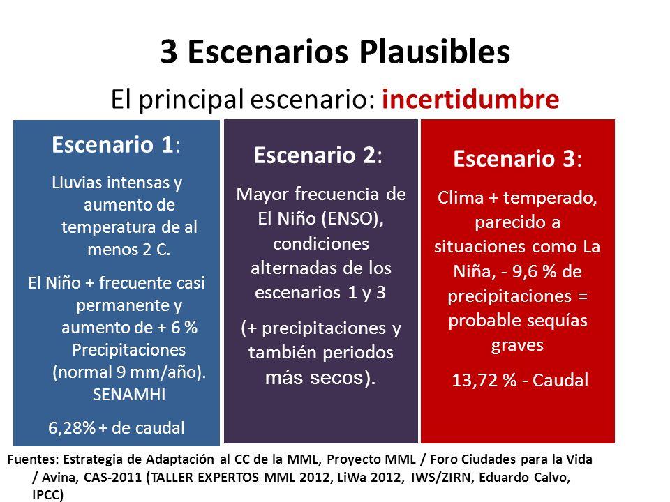 3 Escenarios Plausibles El principal escenario: incertidumbre Escenario 1: Lluvias intensas y aumento de temperatura de al menos 2 C. El Niño + frecue