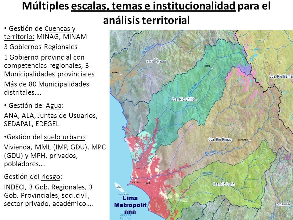 Múltiples escalas, temas e institucionalidad para el análisis territorial Gestión de Cuencas y territorio: MINAG, MINAM 3 Gobiernos Regionales 1 Gobie
