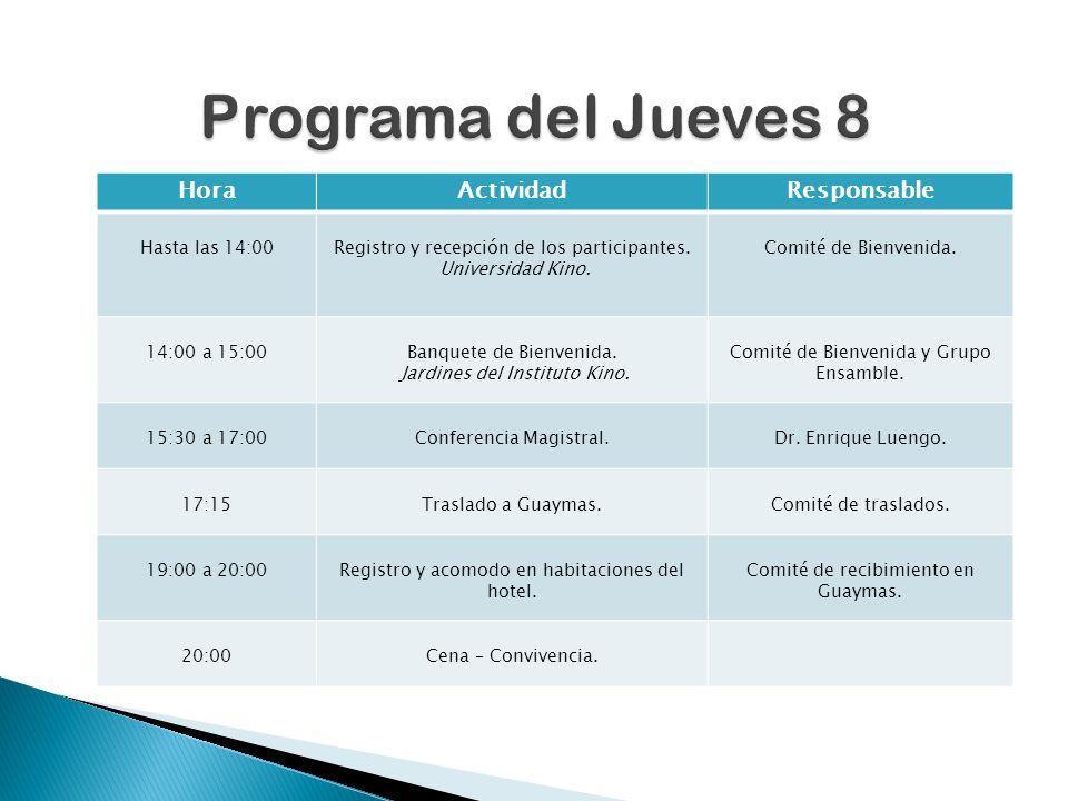 HoraActividadResponsable Hasta las 14:00Registro y recepción de los participantes.