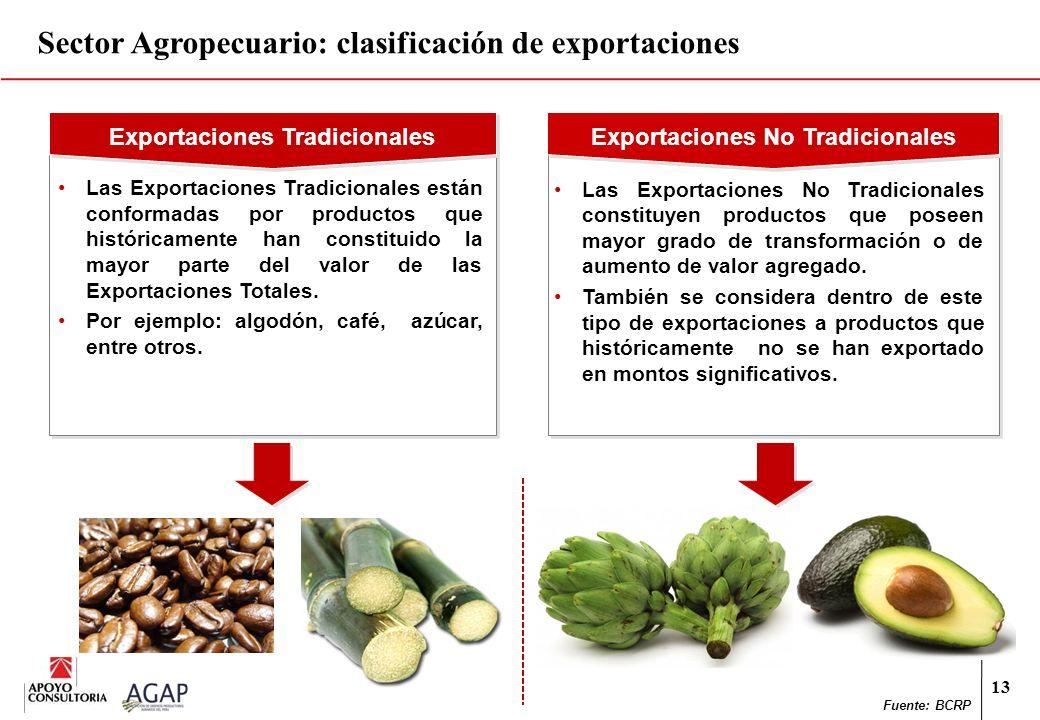 13 Sector Agropecuario: clasificación de exportaciones Exportaciones Tradicionales Exportaciones No Tradicionales Las Exportaciones No Tradicionales c