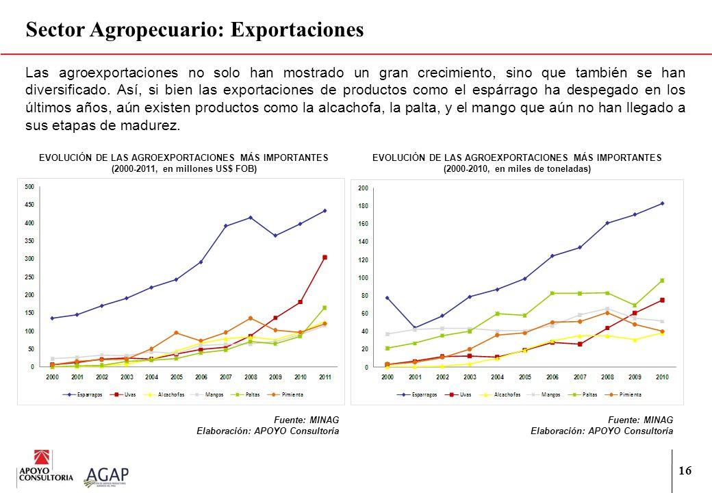 16 Las agroexportaciones no solo han mostrado un gran crecimiento, sino que también se han diversificado. Así, si bien las exportaciones de productos