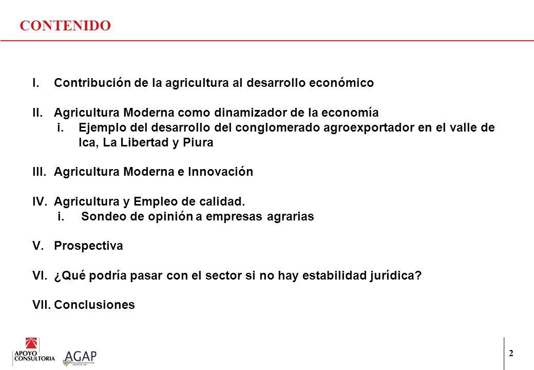 CONTENIDO 2 I.Contribución de la agricultura al desarrollo económico II.Agricultura Moderna como dinamizador de la economía i.Ejemplo del desarrollo d
