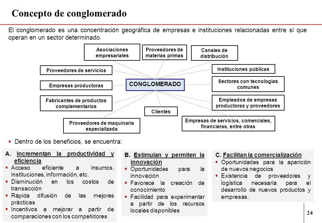 24 Concepto de conglomerado El conglomerado es una concentración geográfica de empresas e instituciones relacionadas entre sí que operan en un sector