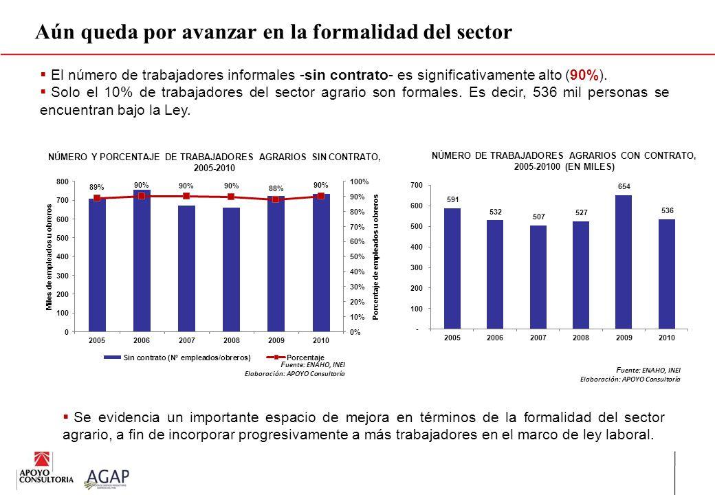 Aún queda por avanzar en la formalidad del sector El número de trabajadores informales -sin contrato- es significativamente alto (90%). Solo el 10% de