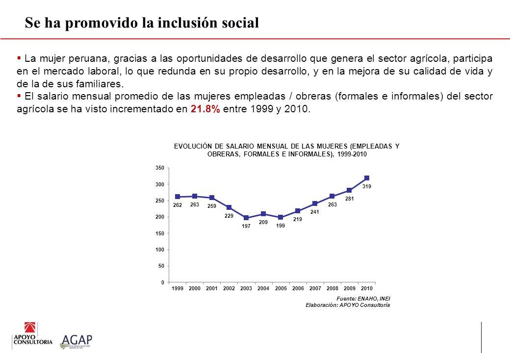 Se ha promovido la inclusión social La mujer peruana, gracias a las oportunidades de desarrollo que genera el sector agrícola, participa en el mercado