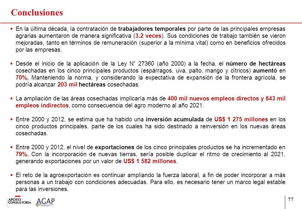 77 Conclusiones En la última década, la contratación de trabajadores temporales por parte de las principales empresas agrarias aumentaron de manera si