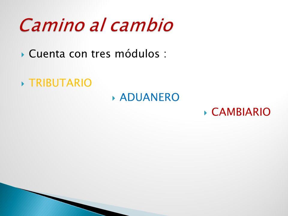 Cuenta con tres módulos : TRIBUTARIO ADUANERO CAMBIARIO