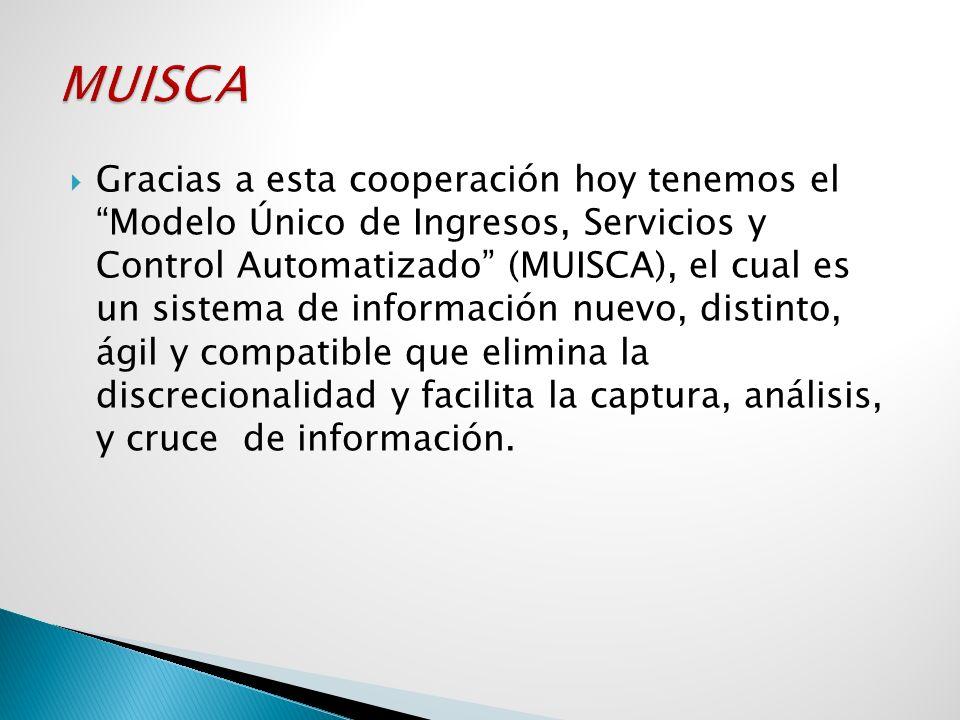 Gracias a esta cooperación hoy tenemos el Modelo Único de Ingresos, Servicios y Control Automatizado (MUISCA), el cual es un sistema de información nu