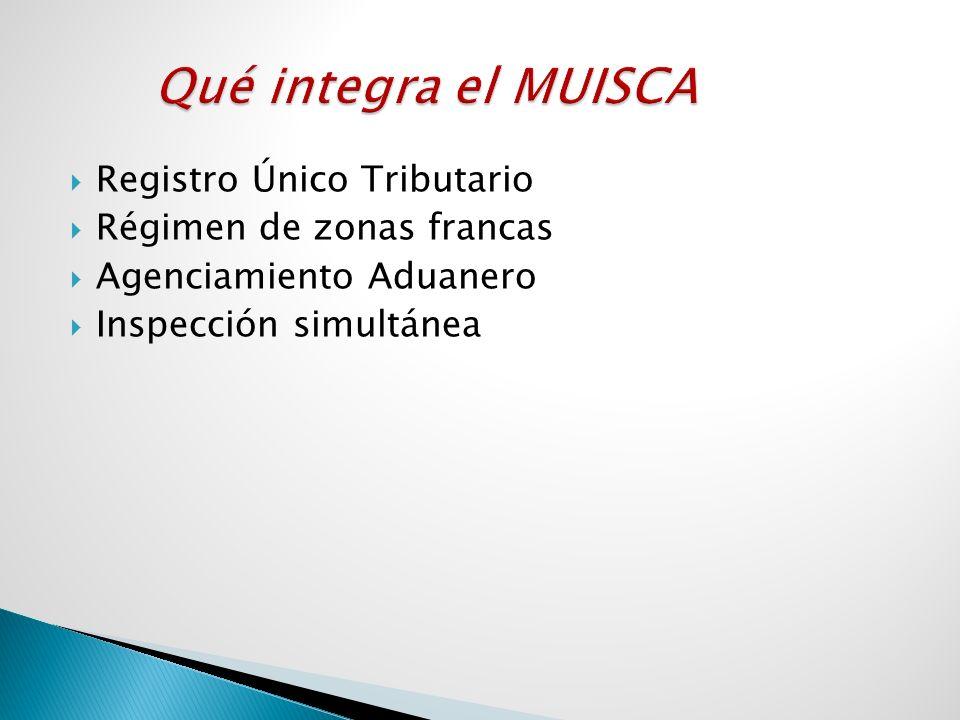 Registro Único Tributario Régimen de zonas francas Agenciamiento Aduanero Inspección simultánea