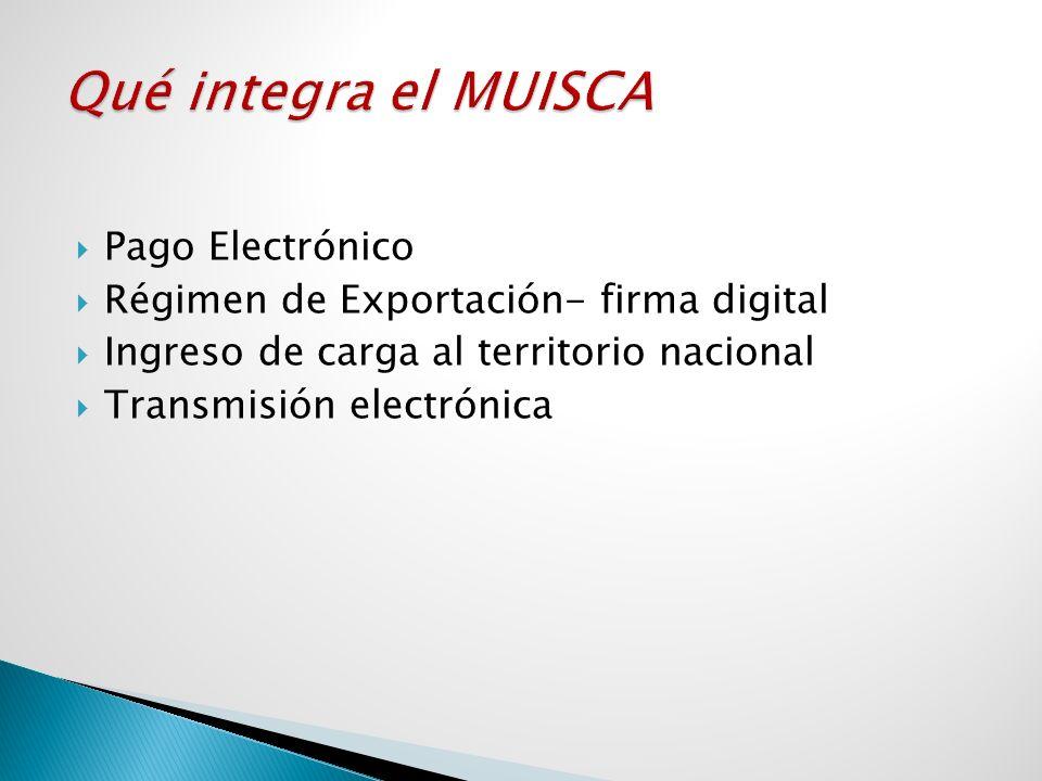 Pago Electrónico Régimen de Exportación- firma digital Ingreso de carga al territorio nacional Transmisión electrónica