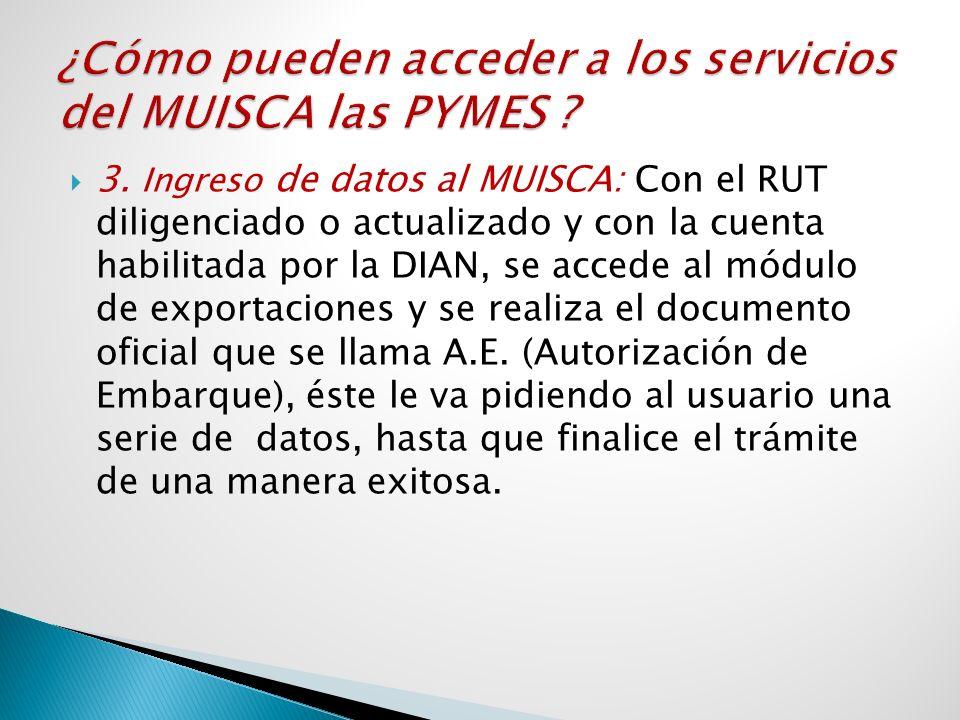 3. Ingreso de datos al MUISCA: Con el RUT diligenciado o actualizado y con la cuenta habilitada por la DIAN, se accede al módulo de exportaciones y se
