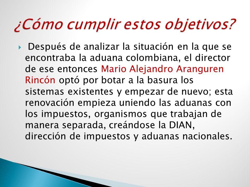 Después de analizar la situación en la que se encontraba la aduana colombiana, el director de ese entonces Mario Alejandro Aranguren Rincón optó por b