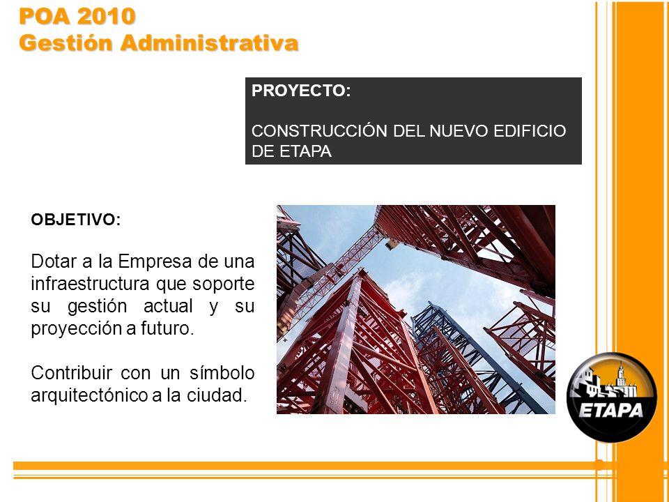 OBJETIVO: Dotar a la Empresa de una infraestructura que soporte su gestión actual y su proyección a futuro. Contribuir con un símbolo arquitectónico a