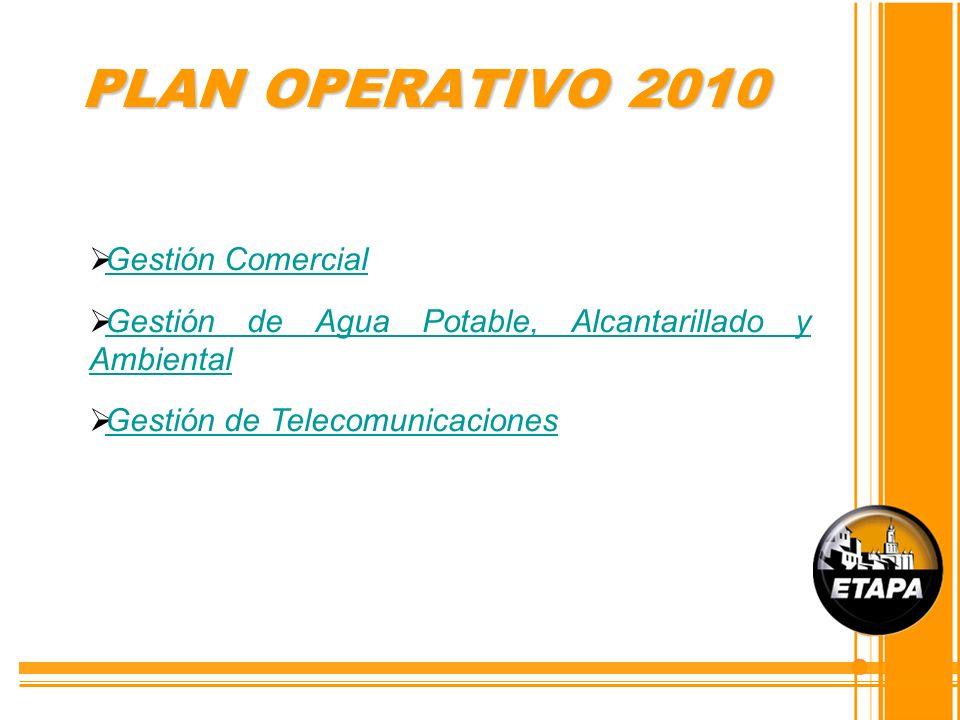 PLAN OPERATIVO 2010 Gestión Comercial Gestión Comercial Gestión de Agua Potable, Alcantarillado y Ambiental Gestión de Agua Potable, Alcantarillado y