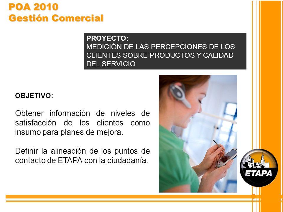 POA 2010 Gestión Comercial OBJETIVO: Obtener información de niveles de satisfacción de los clientes como insumo para planes de mejora. Definir la alin