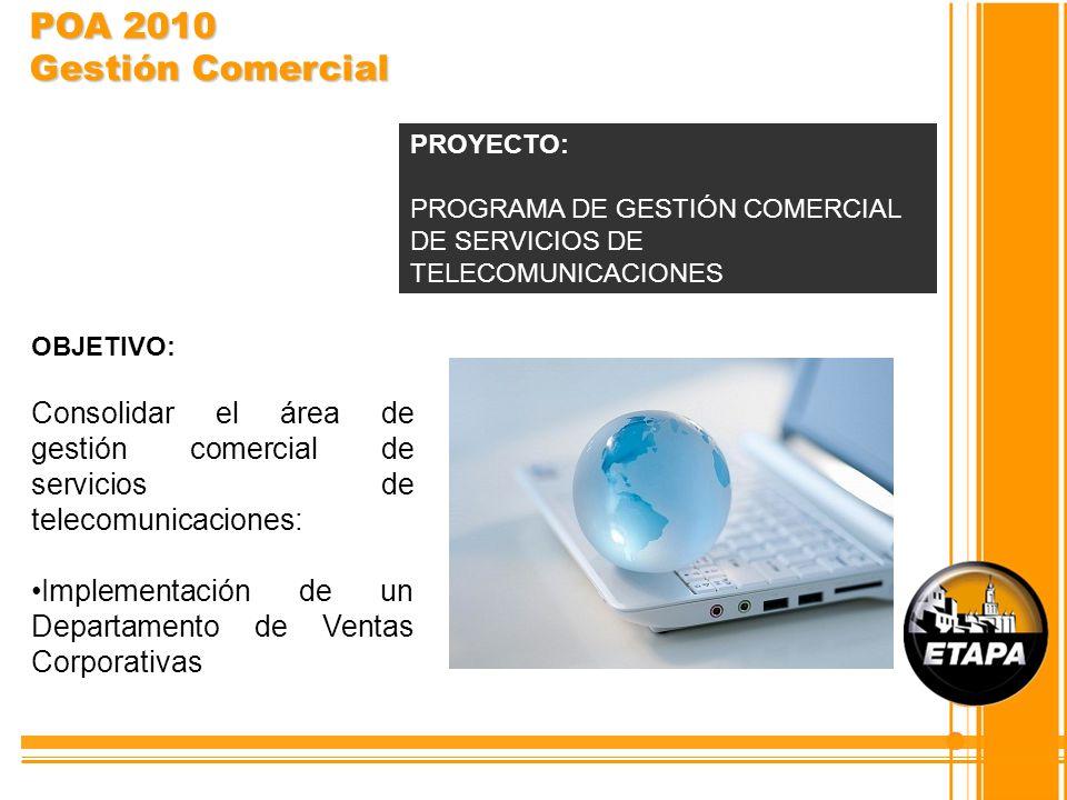 OBJETIVO: Consolidar el área de gestión comercial de servicios de telecomunicaciones: Implementación de un Departamento de Ventas Corporativas PROYECT